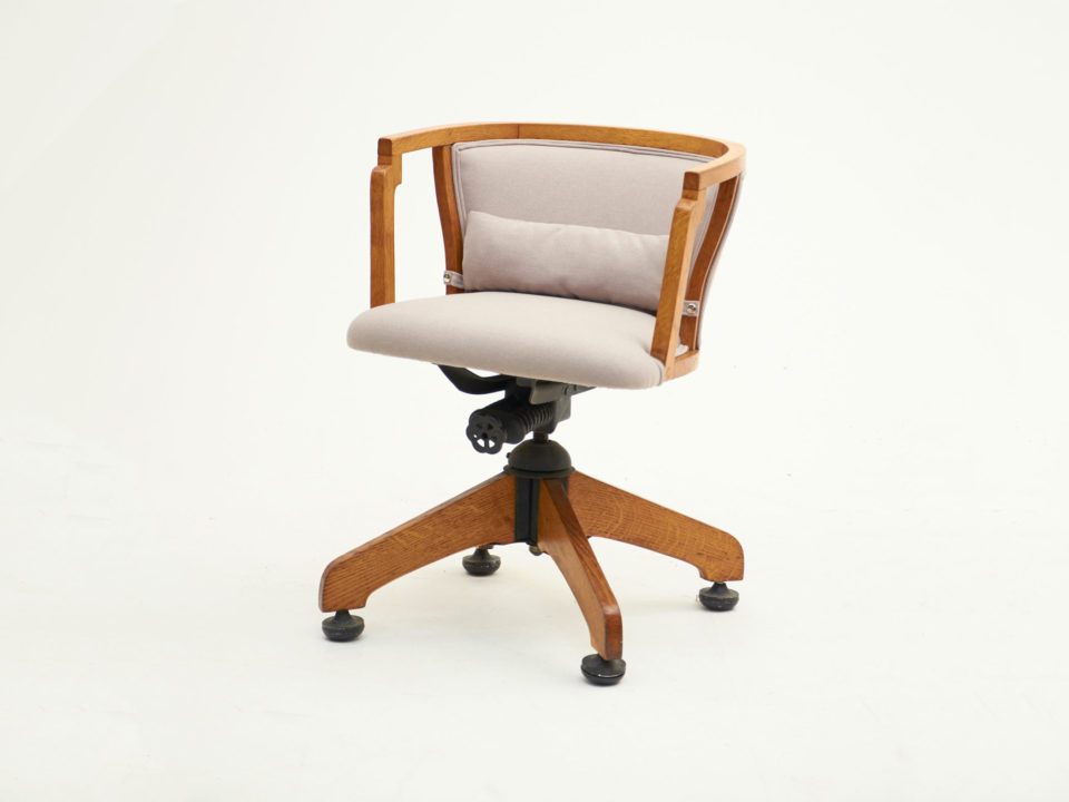 Wooden Office Chair With Attached Lumber Cushion (after)